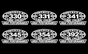 2 Early V8 Hemi Engine Hp Decals 330 331 341 345 354 392 Vintage Motor Stickers