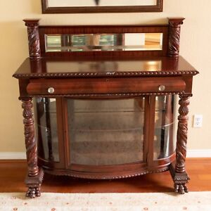 Antique 1890s American Empire Mahogany Acanthus Carved Server Sideboard Buffet