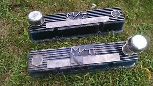 Mickey Thompson 103r 50b M T Aluminum Finned Valve Covers Vintage Sbc Chevy