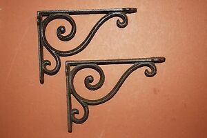 2 Vintage Look Decorative Cast Iron Shelf Brackets Rustic Brown 6 5 8 B 5