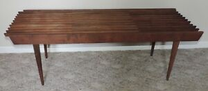 Vintage Mid Century Modern Expandable Slat Top Bench Coffee Table Tapered Legs