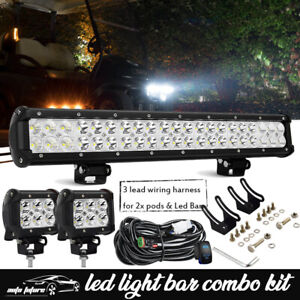 20inch 294w Led Light Bar 4 18w Pods Offroad Truck Atv Suv Wiring Kit