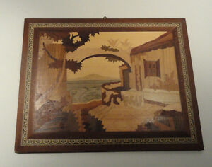 Vintage Wood Marquetry Inlay Picture Italy