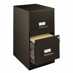 18 Deep 2 Drawer File Cabinet In Black With Finger Pull Handles