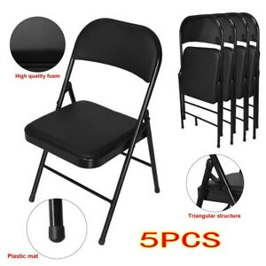5pc Fold Chairs Fabric Upholstered Padded Seat Metal Frame Home Office Chair Usa