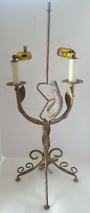 Vintage Bouillotte Lamp Bird 2 Arm Candle Vine Leaves Faux Gold Finish Toleware