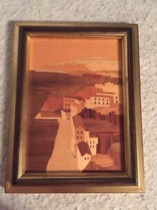 Vintage Inlay Wood Marquetry Framed Picture Sorrento Italy Certificato Italia