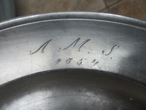 3 1852 Matching Early Antique Dated Identified Pewter Plates Hallmarked Gift