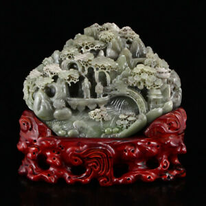 Chinese Natural Hetian Jade Statue Teacher Student
