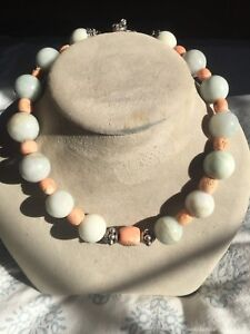 Old Vintage Chinese Jade With 800 Silver And Coral Huge Beads Necklace
