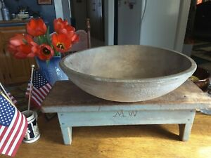 Antique Wooden Work Bowl 15 Hand Turned Nice Old Primitive Country Dry Finish