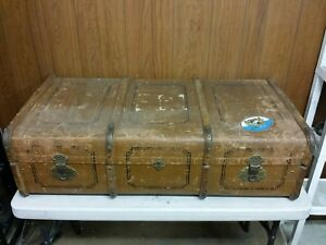 Antique Overseas Travel Chest Steamer Trunk Suitcase Ernst Lange Dresden Germany