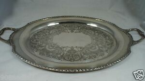 Antique Silver Plate Wickford Butler S Serving 26 Tray Oval Handled Etched