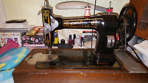 Watch Videos Antique White Rotary Sewing Machine Refurb W Motor And Oak Case