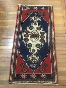 Antique Small Area Rug 100 Wool Hand Knotted Turkish Rug