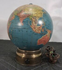 Rare 1930 S Glass 7 Replogle Lighted Globe On Brass Base Vintage Antique Lit