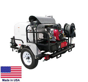 Pressure Washer Hot Water Trailer Mount 200 Gal 5 Gpm 4000 Psi 12v A