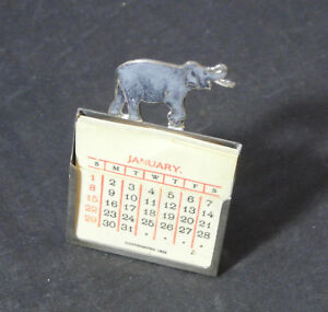 Antique 1893 Sterling Silver Enamel Elephant Celluloid Desk Calendar