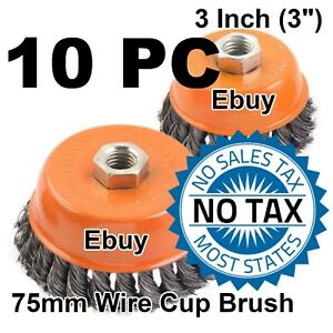 Hoteche 10 Wire Cup Brush 3 75mm For 4 1 2 115mm Angle Grinder Twist Knot