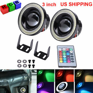 3 Inch Led Fog Light Projector Driving Lamp Cob Angel Eye Halo Ring Kit Rgb Us