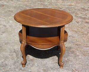 Vintage Lane Round Two Tier French Provincial Style Walnut Cocktail End Table