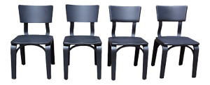 Vintage Mid Century Modern Set Of 4 Black Thonet Bentwood Dining Chairs