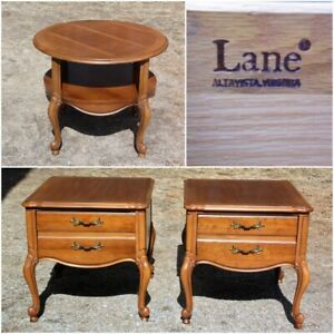 Vintage Lane French Provincial Style Walnut Table Set End Tables Nightstands