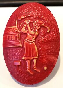 Vintage Button Large Red Celluloid 1 Piece 30 S Woman Playing Golf Oval