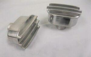 Two Polished Aluminum Nostalgic Finned Valve Cover Breather Pair 2 Breathers