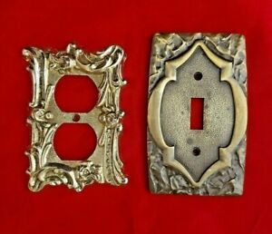 Vintage Metal Plates 1 Receptacle Outlet Cover 1 Switch Cover Plate