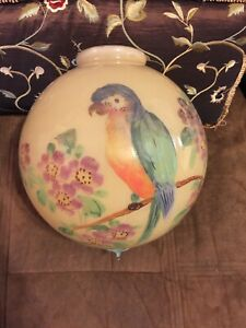 Vtg Antique Art Deco Handpainted Flower Parrot Globe Glass Ceiling Light Shade