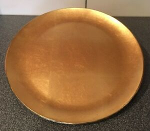 Vintage Old Very Early Paper Mache Plate Gold Leafing 14 1 4 Rare
