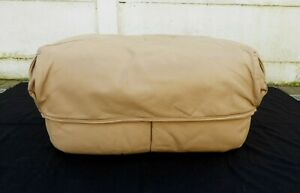 Large Roche Bobois Leather Beige Pouf Footrest Sofa Vintage