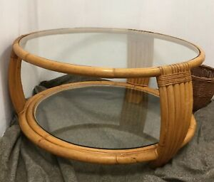 Vtg Mid Century Bamboo Rattan Art Round Coffee Table 2 Tiered Glass Philippines