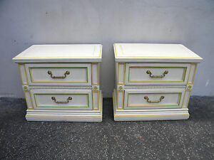 French Painted Pair Of Large Nightstands End Side Tables 5231