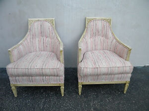 French Distressed Painted Pair Of Living Bed Room Side Chairs 5450