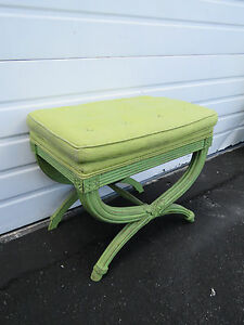 Hollywood Regency Painted Upholstered Vanity Stool Ottoman 8585