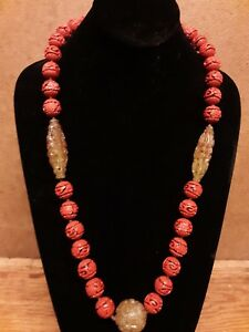 Chinese Carved Cinnabar Shou Bead Carved Nephrite Jade Necklace