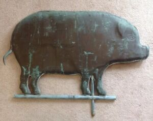 Antique Large Copper Hog Pig Country Farm Folk Art Weathervane Green Patina 27 L