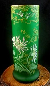 1899 French Legras Saint Denis Hand Painted Enamel Chrysanthemum Art Glass Vase