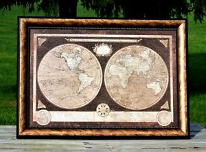 Old World Map Rectangular Framed Twin Hemisphere Gold Black Knock Down Relief