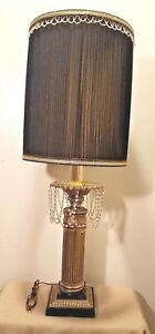 Brass Mid Century Modern Hollywood Regency Table Lamp Marble With Crystal Beads