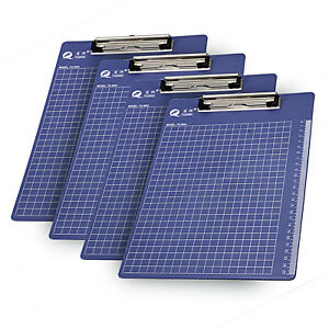 4pc A4 Clipboard hanging Hole Ruler Grid Clip Board Office Work Document Holder