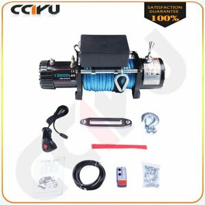 13000lbs Electric Winch Synthetic Rope 12v Towing Truck Offroad 12000lb For Jeep
