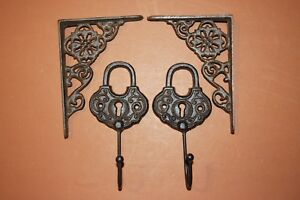 Old Fashioned Padlock Decor Vintage Style Small Shelf Brackets Solid Cast Iron