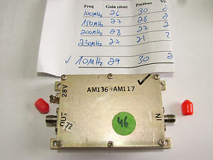 Rf Amplifier 10mhz 200mhz Gain 27db Po 28dbm 28v Sma Am136 Am123 b Patentix