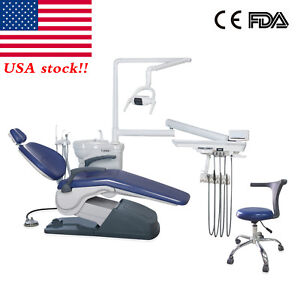 Computer Controlled Dental Unit Chair Hard Leather A1 With Stool Fda Ce D blue