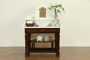 Marble Top Antique Mahogany Washstand Bar Server Vessel Sink Vanity 30801