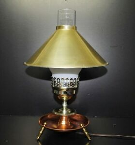 Vintage Antique Mission Style Table Desk Dresser Hurricane Lamp Brass Copper