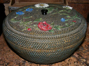 Large 47 Hand Woven Antique Lidded Blue Sewing Basket Round Storage Box Flowers